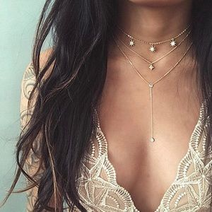 Boho Gold Layered Star Crystal Long Chain Necklace